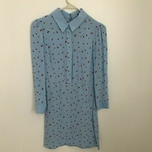Topshop A Line Cherry Print Shirt Dress- XS (2)